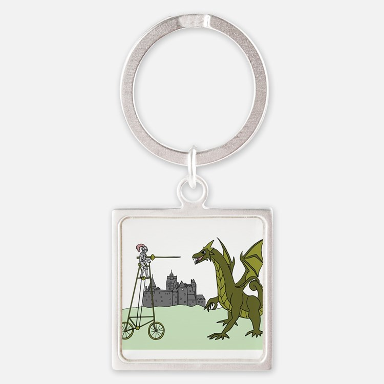 Knight Riding A Tall Bike Slaying A Drag Keychains