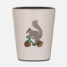Squirrel On Bike With Acorn Wheels Shot Glass