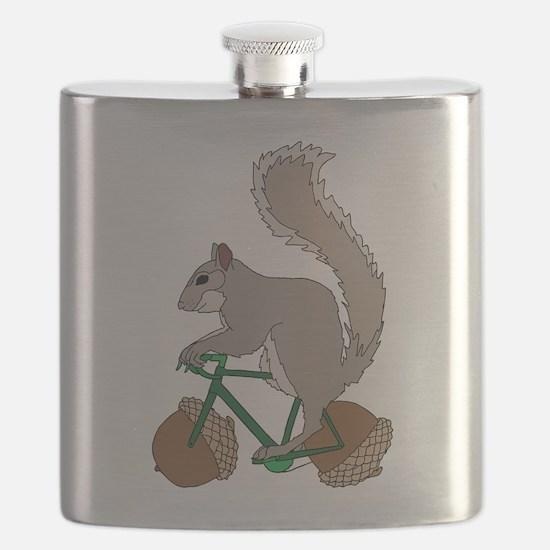 Squirrel On Bike With Acorn Wheels Flask