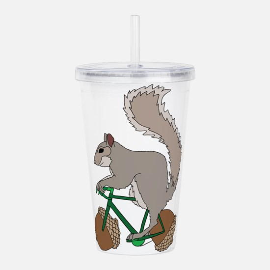 Squirrel On Bike With Acrylic Double-wall Tumbler