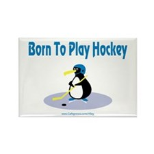 Born 4 Hockey Penguin Rectangle Magnet