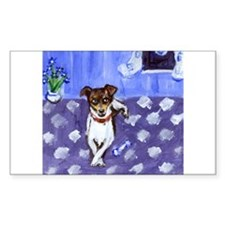 RAT TERRIER folk art design Rectangle Decal