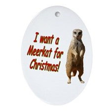 Christmas Meerkat Oval Ornament