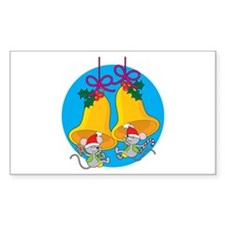 Christmas Bell Mice Rectangle Decal