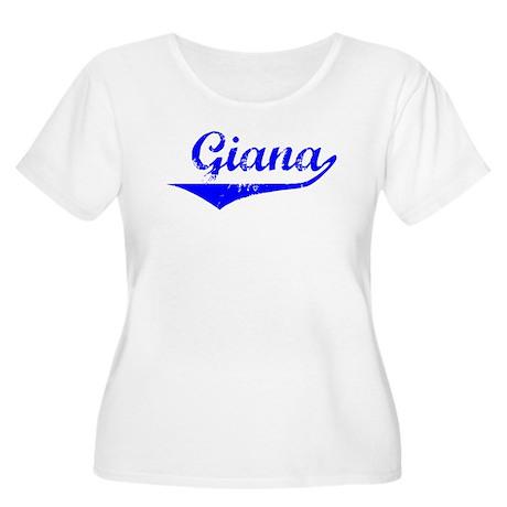 Giana Vintage (Blue) Women's Plus Size Scoop Neck