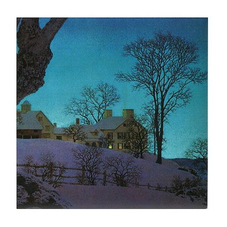 Christmas Morn, Maxfield Parrish Tile Coaster