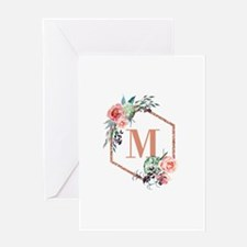 Chic Floral Wreath Monogram Greeting Cards