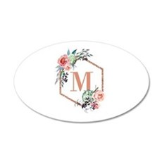 Chic Floral Wreath Monogram Wall Decal