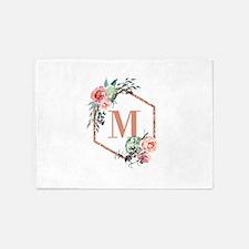 Chic Floral Wreath Monogram 5'x7'Area Rug