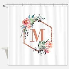 Chic Floral Wreath Monogram Shower Curtain