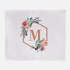 Chic Floral Wreath Monogram Throw Blanket