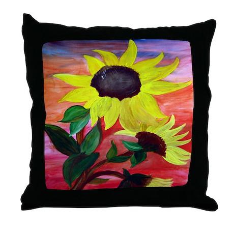 Bright Sunflowers Throw Pillow