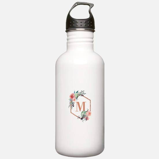 Chic Floral Wreath Monogram Water Bottle