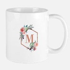 Chic Floral Wreath Monogram Mugs