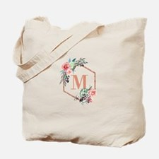 Chic Floral Wreath Monogram Tote Bag