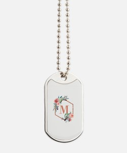 Chic Floral Wreath Monogram Dog Tags
