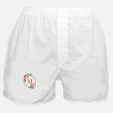 Chic Floral Wreath Monogram Boxer Shorts