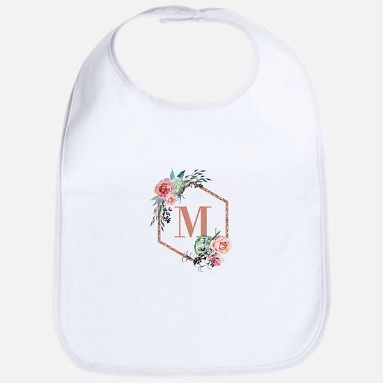Chic Floral Wreath Monogram Baby Bib