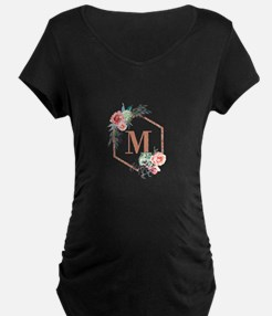 Chic Floral Wreath Monogram Maternity T-Shirt