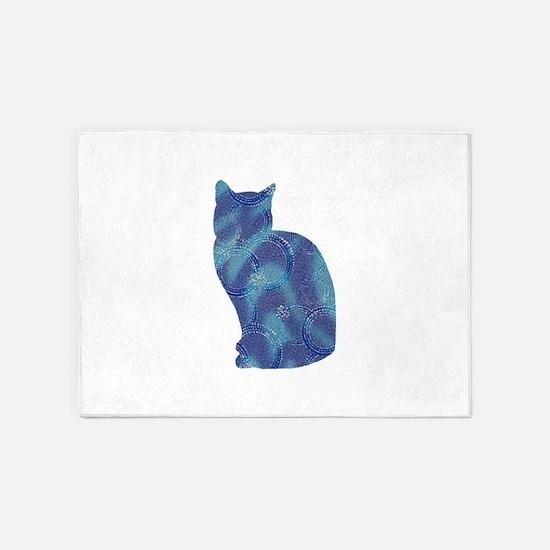 Sparkly blue cat 5'x7'Area Rug