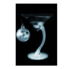 Blue Christmas Ball Martini Postcards (Package of