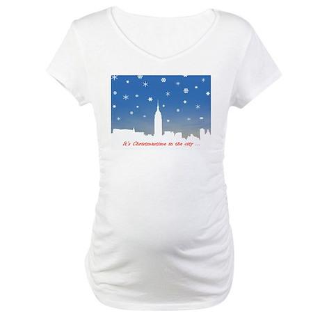 White Skyline Cards Maternity T-Shirt