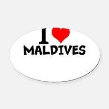 I Love Maldives Oval Car Magnet