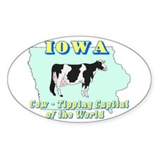 Iowa Cow Tipping Oval Decal