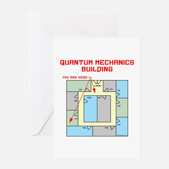 Quantum Mechanics Building Greeting Card