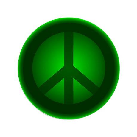 """Green Peace Symbol 3.5"""" Button"""