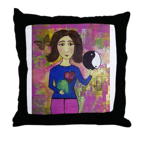 Funky Art Queen Throw Pillow