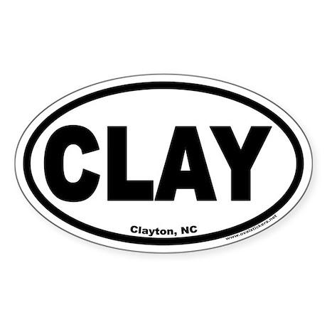 "Clayton, NC ""CLAY"" Oval Sticker"