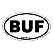 """Buffalo, NY """"BUF"""" Oval Bumper Stickers"""