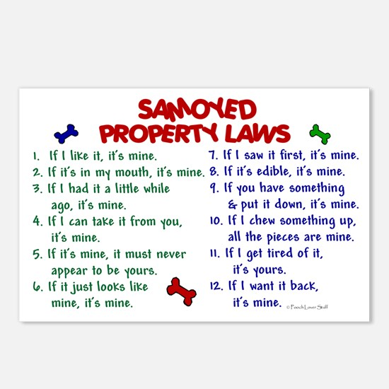 Samoyed Property Laws 2 Postcards (Package of 8)