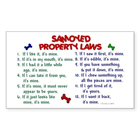 Samoyed Property Laws 2 Rectangle Sticker