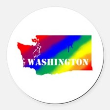 Rainbow Gay Pride Washington Round Car Magnet