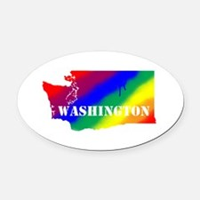 Rainbow Gay Pride Washington Oval Car Magnet