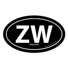 Zimbabwe country bumper sticker -Black (Oval)
