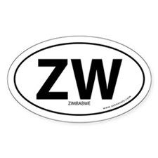 Zimbabwe country bumper sticker -White (Oval)