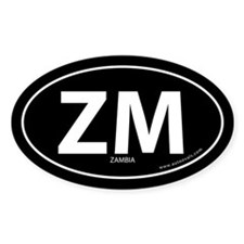 Zambia country bumper sticker -Black (Oval)