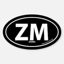 Zambia country bumper sticker -Black (Oval)