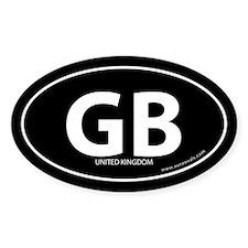 United Kingdom GB bumper sticker -Black (Oval)