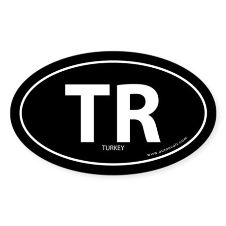 Turkey country bumper sticker -Black (Oval)