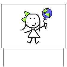 Girl & Earth Yard Sign