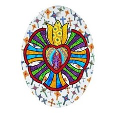 Guadalupe Red Milagro Oval Ornament