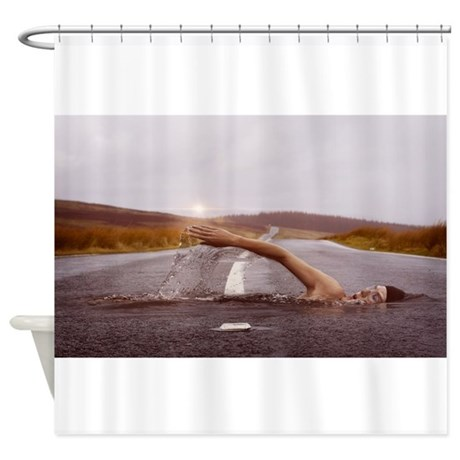 Swimming down the street shower curtain by admin cp132385173 Swimming pool shower curtain