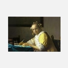 A Lady Writing by Johannes Vermeer Magnets