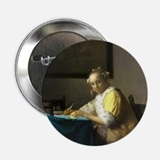 """A Lady Writing by Johannes Vermeer 2.25"""" Button (1"""