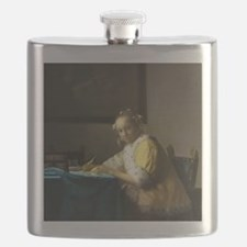 A Lady Writing by Johannes Vermeer Flask