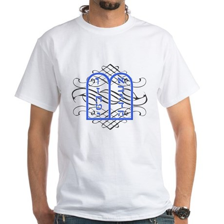 Blue Ten Commandments Tablets White T-Shirt